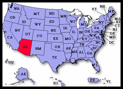 US Airport Dedication Covers Arizona - Arizona map us