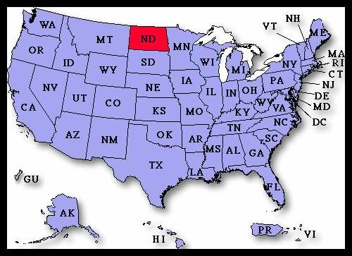 US Airport Dedication Covers North Dakota - Us map north dakota